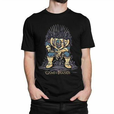 Game Of Thanos Avengers End Game Of Thrones Parody Black T-Shirt Iron Man S-6XL