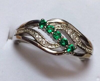 AD194 925 Sterling Silver Art deco Vintage Emerald Green White Sapphire Ring L