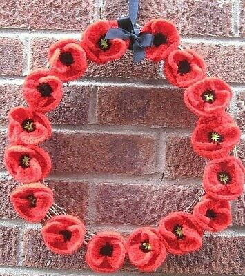 Hand Knitted Red Poppies On A Large Rattan Wreath And Embroidered Card