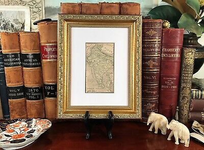 Gold Scrolled Framed Original 1887 Antique Map INDIA Bombay Calcutta Delhi