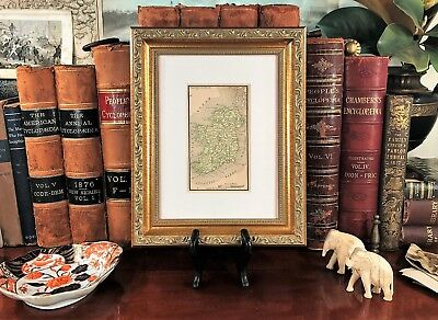 Framed Original 1887 Antique Map IRELAND Dublin Belfast Waterford Cork