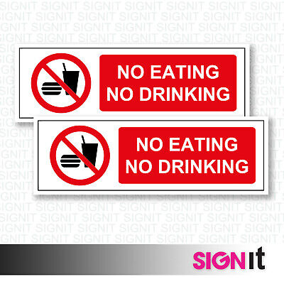 No Eating or Drinking - No Food Sign Vinyl Sticker (50mm x 150mm)