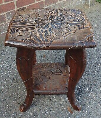 Japanese antique Meiji Victorian period carved walnut side lamp occasional table