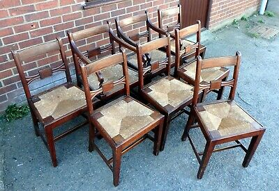 Set 8 George III Regency solid mahogany rush sesat dining kitchen chairs carvers