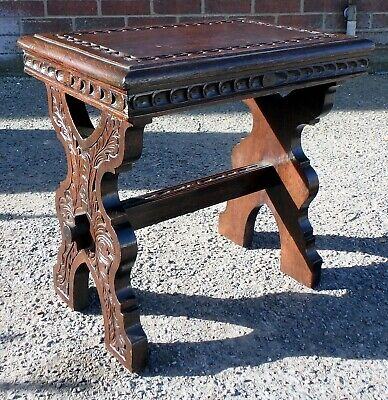 Victorian antique Arts & Crafts Gothic solid chip carved oak footstool stool