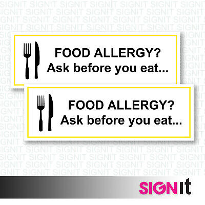 Food Allergy Ask Before Eating - Food Warning Sign Vinyl Sticker (50mm x 150mm)