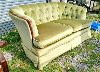 Vintage C.1970 Chesterfield Style Curved Back 2 Seater Sofa