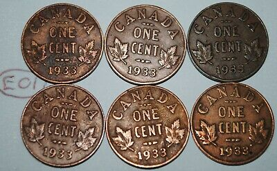 Canada 1933 x 6 1 Cent Copper Coin One Canadian George V Penny Lot #E01