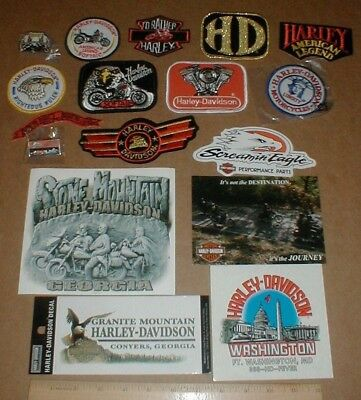 17 Harley Davidson Motorcycle lot original jacket patch patches hat pin stickers