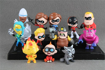 12pcs The Incredibles 2 Action Figure Play set Toy Doll Cake Topper