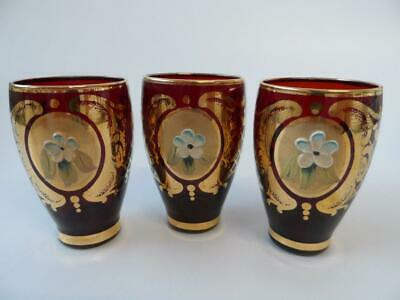Venetian Murano / Czech Red & Gold Floral 3 X Shot Glasses