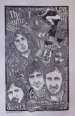 THE WHO BAND Hand Signed Letterpress Art Pete Townshend Roger Daltrey Keith Moon