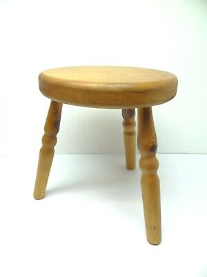 Vintage Used Blonde Pinewood Wood Wooden Footstool Ottoman Accent Furniture