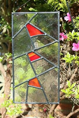 Stained glass garden panel red