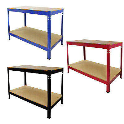 Workbench Garage Storage Shelving Boltless Heavy Duty Metal Work Table DIY Tools