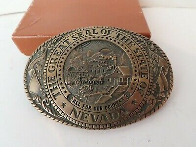 Vintage Belt Buckle Solid Brass Exclusive Collection Tony Lama State Seal Nevada