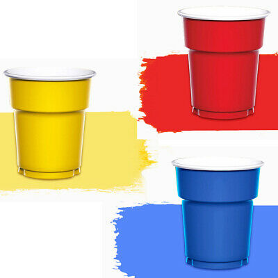 120x Plastic Cups Plain Solid Colours Birthday Party Catering Tableware Job Lot