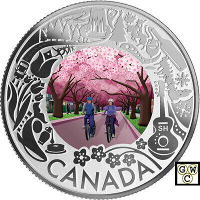 2019Cherry Blossoms-Celebrating Cdn.Fun and Festivities'Prf $3 Fine Silver(18719