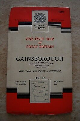 Vintage 1962 'Gainsborough' One Inch Ordnance Survey Map/Poster on Paper