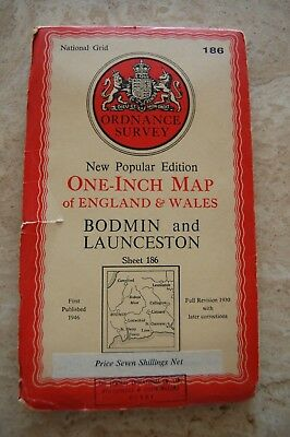 Vintage 1946 'Bodmin & Launceston' Ordnance Survey One Inch Map/Poster on Cloth