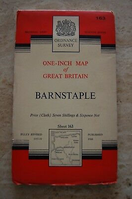 Vintage 1960 'Barnstaple' One Inch Ordnance Survey Map/Poster on Cloth