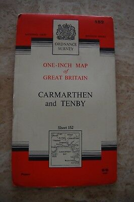 Vintage 'Carmarthen & Tenby' One Inch Ordnance Survey Map/Poster on Paper