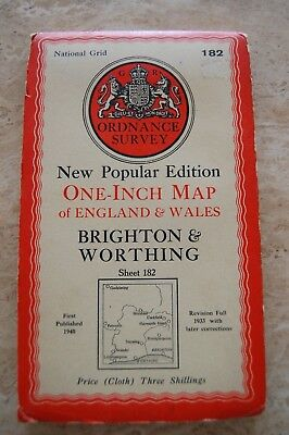 Vintage 1940 Brighton & Worthing Ordnance Survey Map/Poster on Cloth