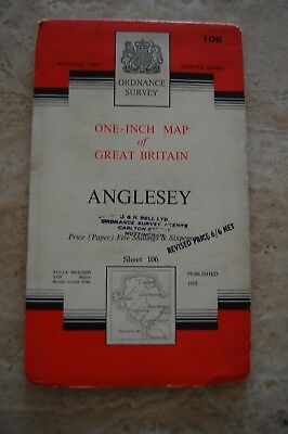 Vintage 1962 'Anglesey' One Inch Ordnance Survey Map/Poster on Paper