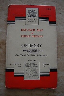 Vintage 1962 'Grimsby' One Inch Ordnance Survey Map/Poster on Paper