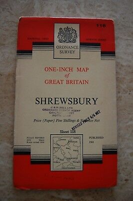 Vintage 1961 'Shrewsbury' One Inch Ordnance Survey Map/Poster on Paper