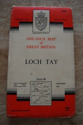 Vintage 1956 'Loch Tay' One Inch Ordnance Survey Map/Poster on Cloth