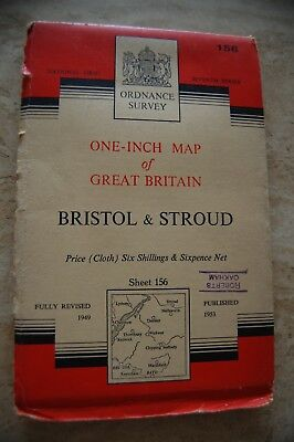 Vintage 1953 'Bristol & Stroud' Ordnance Survey One Inch Map/Poster on Cloth
