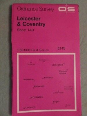 OS Map of LEICESTER & COVENTRY sheet 140 1:50 000 first series