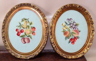 Needlepoint Fruit Ornate Oval Frames Pictures 2 Vintage C8C /AC311