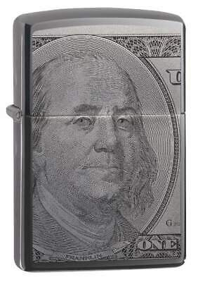 Zippo 49025, USA Currency Design-$100 Bill, Black Ice Chrome Finish Lighter