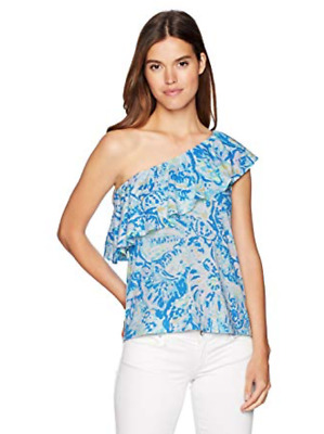 47075ed3d9d $68 Nwt Lilly Pulitzer Matteo Top One Shoulder Bennet Blue Salty Seas Xs