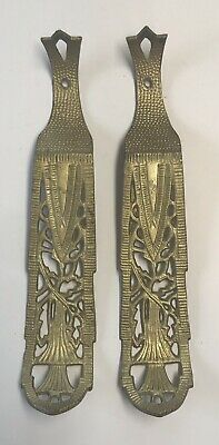 2 Antique Cast Iron Ornate Shelf Brackets Gold Paint Hardware Art Deco B60