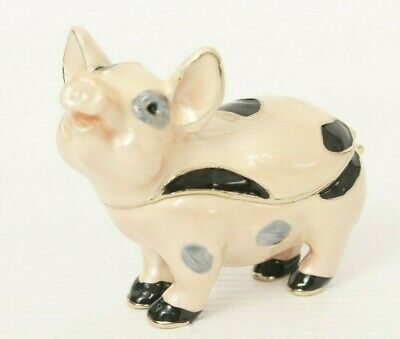 Adorable Enamel Pig Trinket Treasure Box Opens Metal And Enamel
