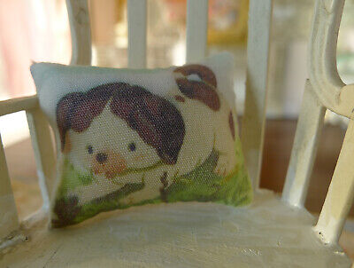 Cute Puppy on Grassland Dollhouse Miniature Pillow for 1/12 Scale