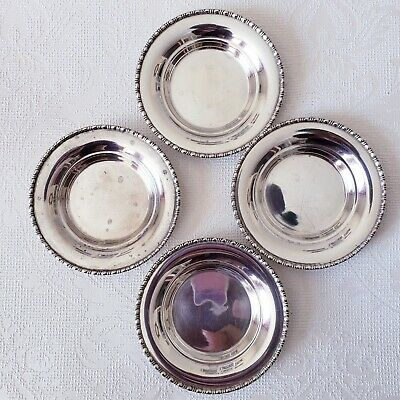 Set of 4 Sterling Silver Small Nut Mint Candy Butter Dishes Plates 110 Grams
