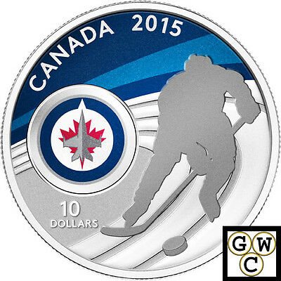 2015 Winnipeg Jets-NHL Colorized Proof $10 Silver Coin 1/2oz .9999 Fine (14097)