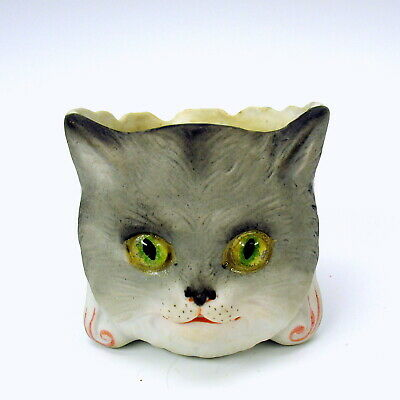 Rare 19th Century glass eyed bisque CAT head toothpick or match holder