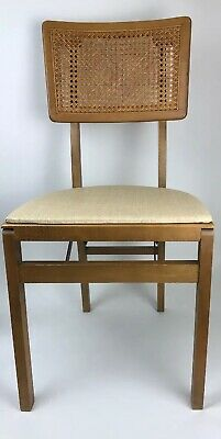 Set 2 Vintage STAKMORE Cane WOOD FOLDING CHAIRS Brown Dinette Mid Century Modern
