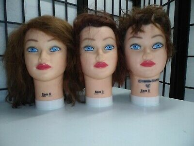 3 STYLIST MANNEQUIN HEADS by BURMAX, 100% HUMAN HAIR, Set of 3 SAM II