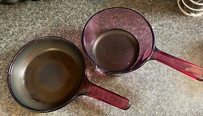 """2 Pcs Corning Ware Visions Cranberry Cookware 1L Pan With & 6"""" Skillet Free Ship"""