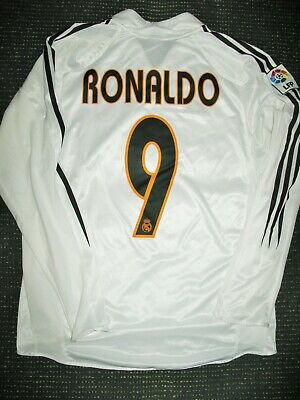 wholesale dealer bdc40 b5a67 AUTHENTIC RONALDO REAL Madrid Jersey 2004 2005 Camiseta Shirt Barcelona LS M