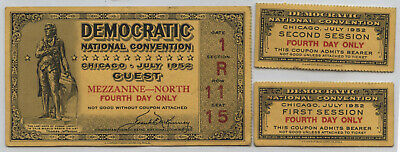 Democratic National Convention 1952 Ticket Stubs Guest DNC Chicago - BA851