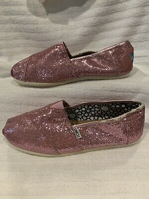 50b8cdeb4139 NWD Toms Shoes Classics Pink Sparkle Shimmer Glitter Slip on Slipper Size 10