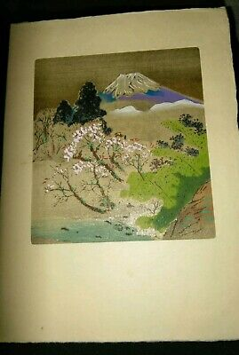 Vintage Small Japanese Silk Print On Christmas Greeting Card