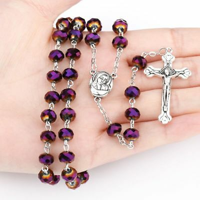 New Purple Crystal Beads Rosary Catholic Necklace Holy Soil Medal & Metal Cross